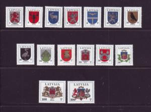 Latvia Sc 363-77A 1994 Coats of Arms stamps mint NH