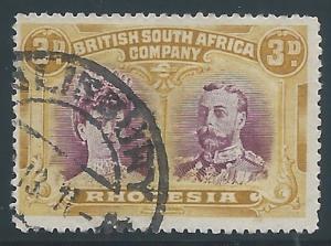 Rhodesia, 1910, Scott #105, 3p olive yellow & violet, used., V.F.