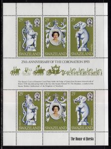 Swaziland 302 Queen Elizabeth II Silver Jubilee Souvenir Sheet MNH VF