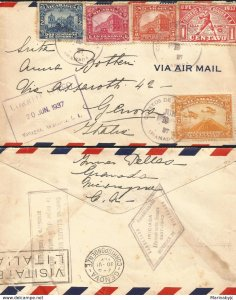 J) 1937 NICARAGUA, OLIMPIC SEAL, BASEBALL, BANKNOTE, MOMOTOMBO, MULTIPLE STAMPS,
