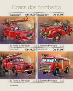 SAO TOME - 2019 - Fire Engines - Perf 4v Sheet - MNH