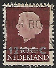 Netherlands # 374 - Queen Juliana ovpt 12ct on 10ct.- used....(P5)