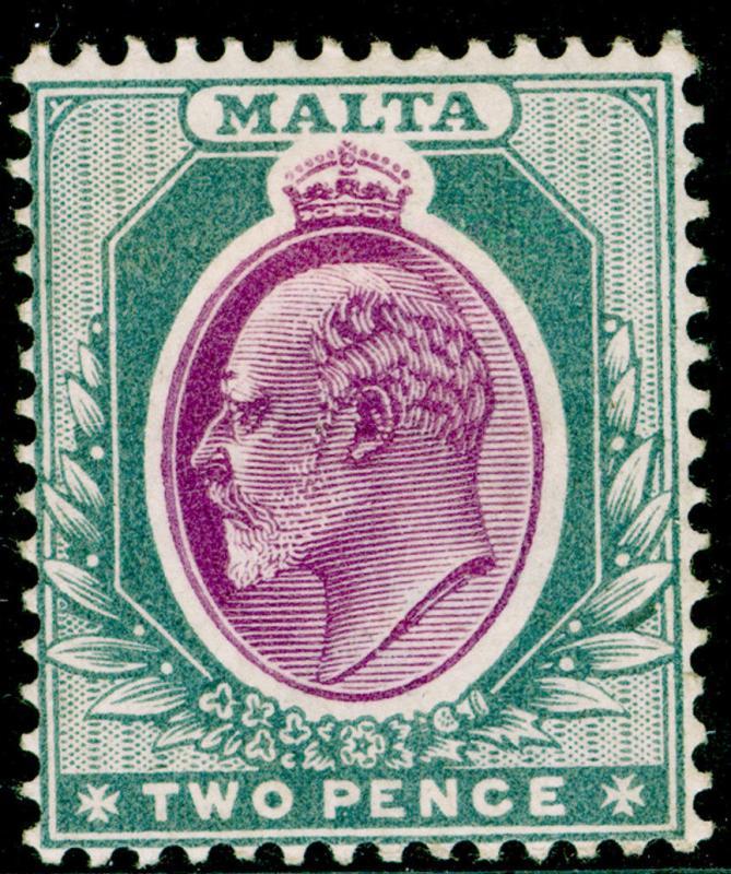 MALTA SG40, 2d purple & grey, M MINT. Cat £29. WMK CA