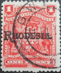 Rhodesia 1909 One Penny with GWELO transit mark (DC) postmark