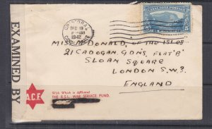CANAL ZONE, 1942 Censored cover, 5c., Cristobal to GB.