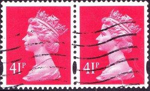 GREAT BRITAIN 1993 QEII 41p Rosine Machin Horizontal Pair SGY1714 FU