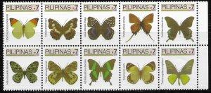Philippines  mnh Butterflies - nice block of 10.