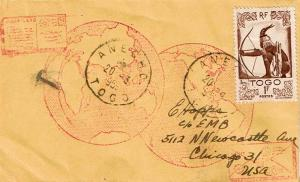 Togo 1F Hunter 1955 Anecho, Togo to Chicago, Ill.  Shortpaid so rated hs T.