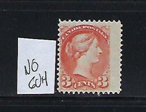 CANADA SCOTT #37 1870-89 SMALL QUEEN 3 CENT (ORANGE RED) MINT NO GUM