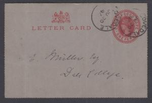 Cape of Good Hope H&G A1 used 1895 1p Letter Card, Cloverdale to Dale College