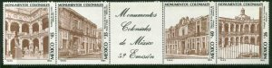 MEXICO 1430a, Colonial Monuments, STRIP OF 4 + LABEL. MINT, NH. VF.