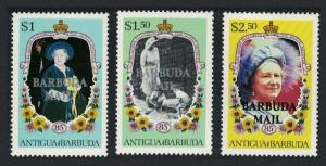 Barbuda Life and Times of Queen Elizabeth the Queen Mother 2nd series 3v