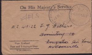 NEW ZEALAND 1942 small OHMS cover - scarce RONGOTAI AIR FORCE cds...........8968