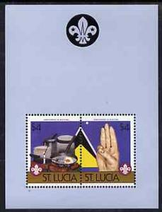 St Lucia 1986 Boy Scouts of America m/sheet containing 2 ...