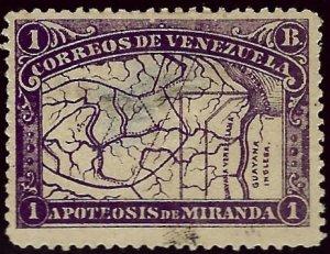 Venezuela SC#140 Used F-VF hr/thin  SCV$27...Venezuela is intense!!