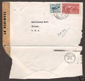 Mexico Sc C81a/RA14 on 1943 Censored Air Mail Cover
