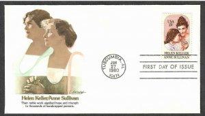 US # 1824 Helen Keller / Anne Sullivan Fleetwood FDC - I Combine S/H