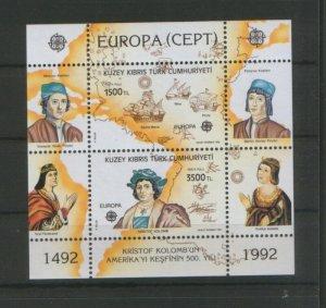TURKEY-CYPRUS-USA-MNH-BLOCK-EUROPA CEPT-1992.