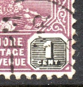 1922 Johore Sg 103 1c 'Grand Break En Valeur Tablette' Fin D'Occasion