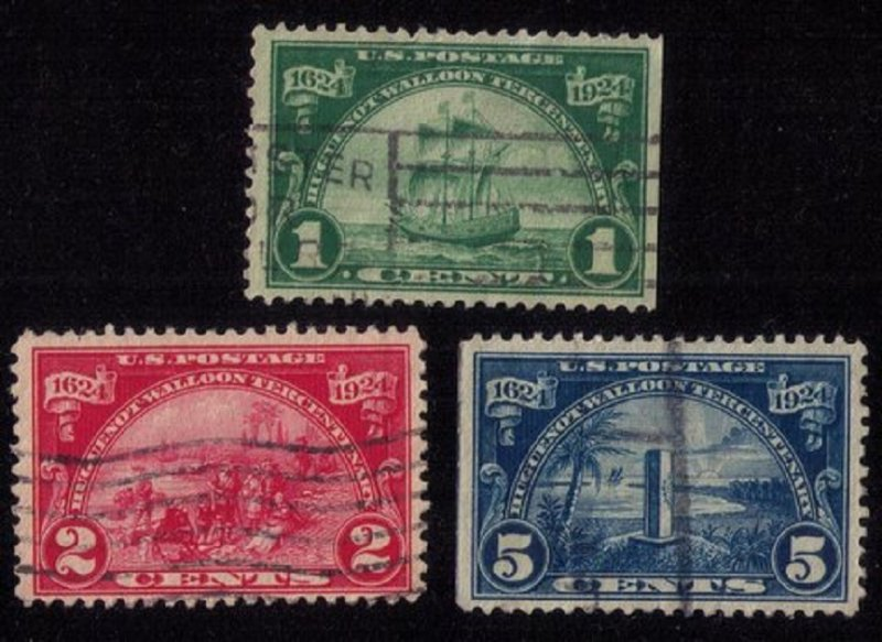 US Sc 614-616 Used Set Huguenot-Walloon Issue F-VF