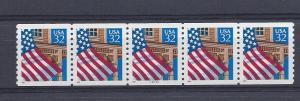 United States, 2913, Flag/Porch Plate Strip of 5 Plt#: 33333,  **MNH**