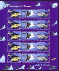 New Caledonia Noumea Aquarium Sheetlet of 5 sets SG#1315-1317