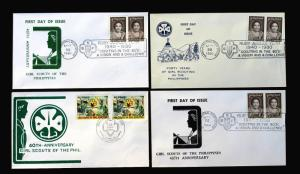 Philippines Sc# 1465-66 & 1196 on Lot of 4 FDC 1980 Girl Scouts Ruby Jubilee.