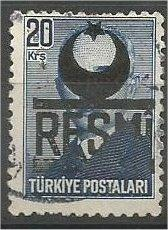 TURKEY, 1951, used 20k, OFFICIAL Scott O15