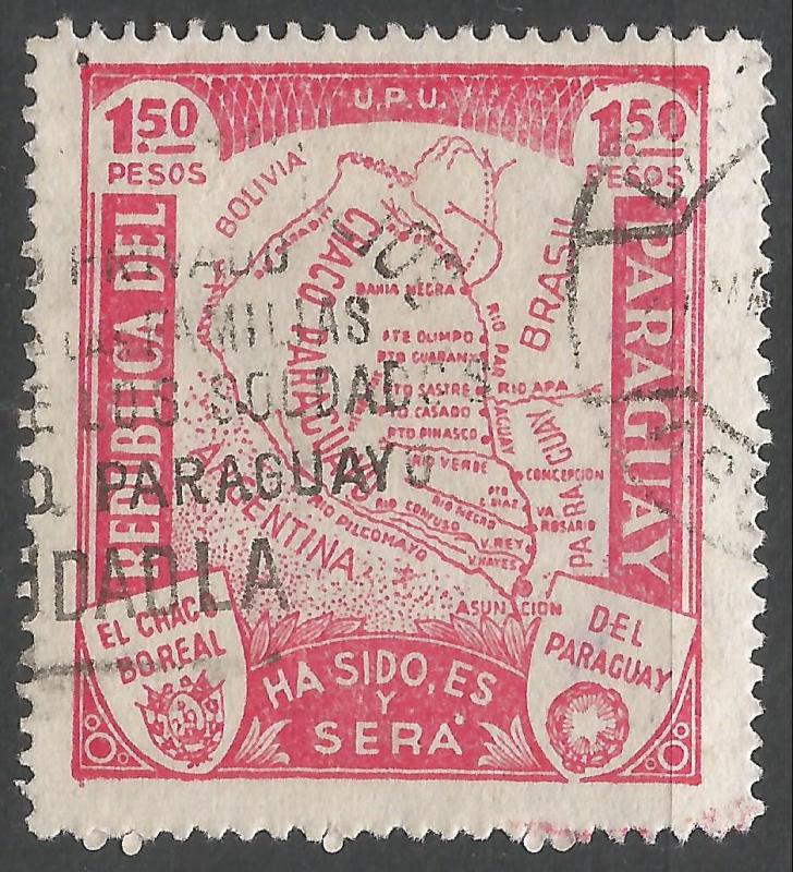 PARAGUAY 324 VFU MAP W622-1