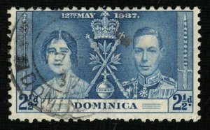 1937, Coronation of King George VI and Queen Elizabeth Dominica, 2 1/2d (4124-T)