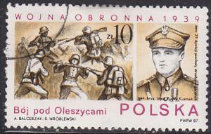 Poland 2825 Hinged CTO 1987 Battle Scene Near Oleszycami 10zł