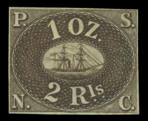PERU 1857 PACIFIC STEAM NAVIGATION Co 2Rl brown Yv# 2f REPRINT- Only 800 printed