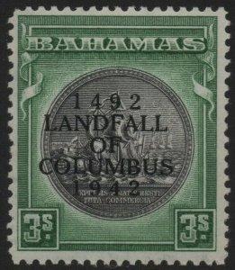 BAHAMAS-1942 3/- Brownish Black & Green Sg 173a MOUNTED MINT V38682