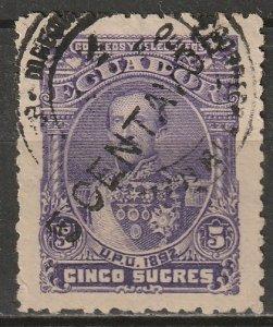 Ecuador 1893 Sc 32 used longer surcharge toning