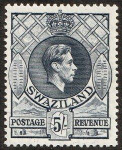 Swaziland KGVI 1938 5/- 5s Slate SG37a Mint Lightly Hinged MLH