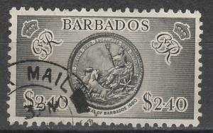 BARBADOS 1950 ARMS $2.40 TOP VALUE