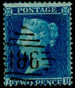 SG34, 2d blue plate 5, LC14, FINE USED. Cat £70. IRELAND. GH