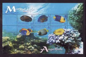 BIOT-Sc#322-unused NH sheet-Marine Life-Angelfish-2006-7-