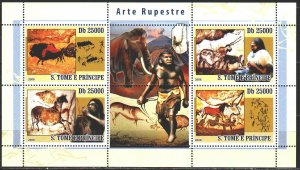 Sao Tome and Principe. 2008. Small sheet 3562-65. Ancient people, rock painti...