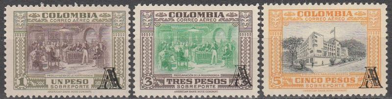 Colombia #C213, 215-6  F-VF Used  CV $31.75  (A8544)