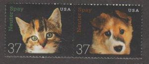 U.S. Scott #3670-3671a Neuter & Spay - Cat & Dog Stamp - Mint NH Pair