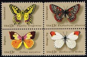 US #1712-1715 Butterflies Block of 4; MNH (1.00)