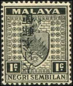 Malaya - Negri Sembilan SC# N28a SG# J224a Japanese Occupation  INVERT o/p 1c MH