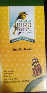 A) 2018, COLOMBIA, BIRD, FDB, POSTAL ISSUE AUGUST 24, RISARALDA FESTIVAL