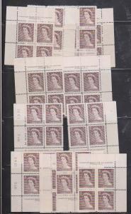 Canada - #325 1953 1c QE Karsh Plates 1 & 2  Matched Sets F-VF  - NH