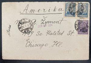1924 Kaunas Lithuania cover To Chicago IL Usa