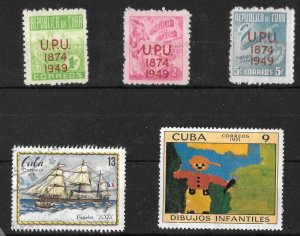 Cuba, 449, 450, 451, 1635, 1751, UPU overprints, Lot of 5 stamps