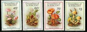 ST. VINCENT GRENADINES Sc#533-536 1986 Fungi Complete Set OG Mint NH