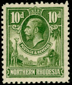 NORTHERN RHODESIA SG9, 10d olive-green, LH MINT.