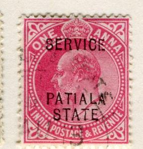 INDIA PATIALA;  1907 early Ed VII SERVICE Optd. issue fine used 1a. value
